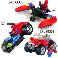 Wholesale 3styles Plastic building block sets minifigures enlighten bricks toy Spider super man