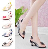Wholesale New Fashion Women S crystal Sandals transparent Color Patchwork Flowers Square High Heel Sandals Pumps wedding shoes OL shoes