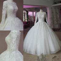 Wholesale 2015 Real Pictures Ball Gown Wedding Dresses Long Sleeve Scoop Sheer Neck Beads Appliques Lace Floor Length See Through Back Bridal Gowns