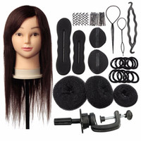 Wholesale 18Inch Brown Real Human Hair Salon Female Mannequin Doll Hairdressing Cosmetology Training Head Mannequin Braid Sets