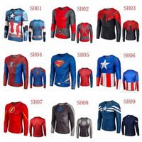 american apparel tops - Super Heroes Long Sleeves Superman Captain American Cartoon Heroes League Jersey Apparel T Shirt Cycling Clothing S XL