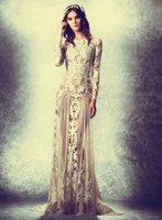 Wholesale Murad Zuhair Sheath Strapless Long Slevess Floor Length Sheer Lace Emboridery