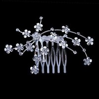 Cheap Free Shipping High Quality Cheap Bridal Headpieces Crystal Wedding Bridal Comb Headwear Small Flower Wedding Prom Party Hair Accessory