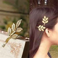 acrylic headdress - Fresh hair accessories headdress head flower hair clips newest leaf leaves perspective retro small edge clip A038