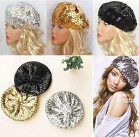 Wholesale best sellingWomen Luxury Sequins Berets Caps European Styles Ladies Girls performance hat Fashion Accessories Christmas boutique Gift