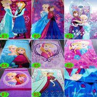 Wholesale Frozen Blankets Elsa Anna Woolen Blanket Baby Girls Boys Cotton Coral Fleece Blankets Kids Color Cartoon Blankets Children Gift GZ GD71