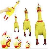 achat en gros de gadgets gifts-Strident Rubber Chicken Jokes Jouets de chien Pousser un cri de poulet pour Party Gadgets Enfants Cadeaux Pincez Crier Son Jouets