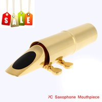 Wholesale 7C Sax Saxophone Mouthpiece Metal with Cap Buckle Gold Plating Made Suitable for Beginner or Professional