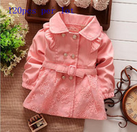 Wholesale Cheap NEw arrival Spring autumnbbay girls cotton long sleeve floral print double breasted dust coat in stock
