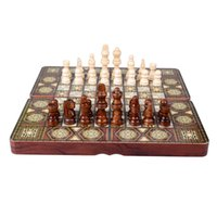 Wholesale 3 in Standard Educational Folding Portable Wooden Chess Checker and Backgammon games
