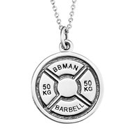 barbell crossfit - Fresh Arrivals925 Silver KG Bareball crossfit barbell dumbell Weight Plate Fitness Necklace