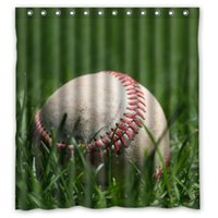 baseball curtains - Polyester Floral Bath Curtains Print Baseball On The Grass Shower Curtain Waterproof Size quot x quot