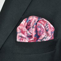 mens tie handkerchief - QH23 Handkerchief Paisley Floral Pink Pocket Square Mens Neckties Jacquard Woven Hanky