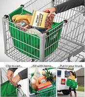 shopping cart - 10pcs Grab Bag Washable Eco Friendly Reusable Large capacity Foldable Trolley Supermarket Shopping Bags That Clips To Your Cart
