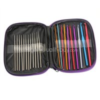 Wholesale 22pcs Multi colour Aluminum Crochet Hooks Knitting Needles Knit Weave Craft Tool Set Case