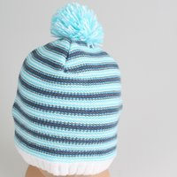acylic winter cap - New Arrival Unisex Autumn Winter Sky Blue Striped Beanie Hat Cycling Driving Cap Acylic Limitted Quantity