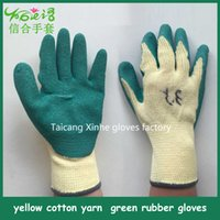 latex coated work gloves - Green latex foam coated yellow cotton glove Industrial working glove