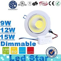Cheap CE ROHS UL SAA CSA + 9W 12W 15W COB Dimmable Led Downlights 120 Angle Super Bright Led Downl Light Recessed Cabinet Kitchen Lamp AC 85-265V