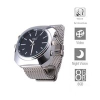 Wholesale Waterproof W8000 P IR Watch DVR Built in GB Card With Voice activation Webcam Wristwatch Camera