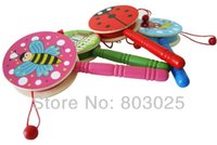 Wholesale Baby Rattle Toy Rattle drums Wooden Drum shaped Rattles