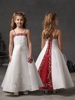 ankle length dresses - White and Red Flower Girls Dresses with Spaghetti Straps Ankle Length Princess Gowns Bridal s Daughter Flower Girls Dresses with Embroidery