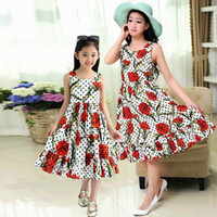 Wholesale summer style mother daughter dresses women girls brand vintage maxi floral dress matching mother and daughter clothes