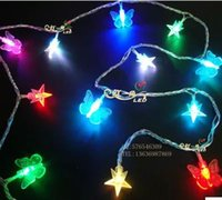 Cheap 2m Butterfly stars string lights led decorative lights hanging on the tree garden bonsai lights flashing lights lamp night lights battery