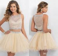 bandages cocktail dresses - 2015 New Champagne Homecoming Dresses Short Two Piece Prom Dresses Tulle Beaded Rhinestones Crystal Mini Backless Party Cocktail Gowns new