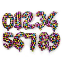 Wholesale Colorful Spot Aluminium Coating Balloons cartoon point number foil balloon Holiday birthday Party Supplies Decoration kids toys