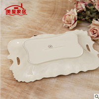 porcelain - Continental upscale new home living room furnishing ivory porcelain pottery large fruit plate GP035