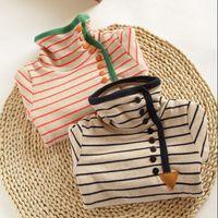 children clothings - Summer Fashion Baby Grils Clothings Grils T Shirts Long Sleeve StripeT Shirts Child T Shirt Kids Clothings Girls Casual High collar T shirt