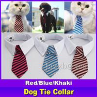 оптовых кошка лук галстук-Новый питомец собака полосатый галстук воротник Cat лук Симпатичные собаки галстука Свадьба Регулируемый щенок красный / синий / хаки бесплатная доставка