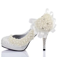 Wholesale New Women White Pearl Wedding Pumps Thigh High Heels Pumps cm