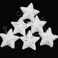 Wholesale Creepy Square Christmas supplies decorative Christmas ornaments Christmas tree ornaments small white five pointed star pack g