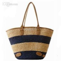 straw beach bag - New Fashion Womens Straw Summer Weave Woven Shoulder Tote Shopping Beach Bag Purse Handbag Straw Beach Bags