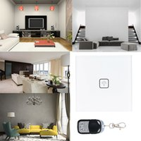 Wholesale Unique Luxury Crystal Toughened Glass Switch Panel V Wireless Remote Control Touch Screen Wall Light Switch UK Standard order lt no t