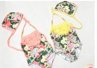 Wholesale 2015 Summer new children girls swimwear floral print tassel suspender swimwear kids Siamese swimsuits children spa beach swimwear