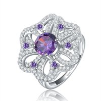 amethyst and silver ring - ORSA Luxury Hearts and Arrows cut Amethyst Zircon Flower Shape Silver Ring Size OR39