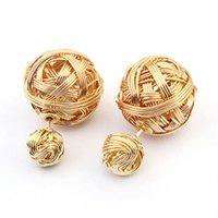 earrings - Exotic Stylish Statement Double Ball Earrings Metal Braided Hollow Studs Earrings for Women Fashion Female gifts E95