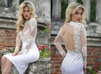 christmas wedding dresses - Fashionable See Through Wedding Dresses Scoop Neck Lace Illusion Long Sleeves Short Wedding Dresses Sexy Hollow Christmas Gown Custom Made