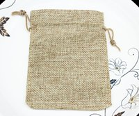 Wholesale 50pcs of cm quot X5 quot Burlap Bags Natural Rustic Burlap Bags with Drawstring for Showers Weddings Parties Receptions
