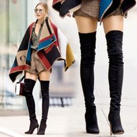 Wholesale 2014 fine with high heeled knee boots stovepipe elastic stretch fabric boots women s boots boots Martin boots high boots