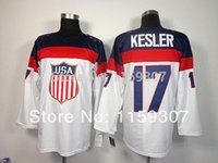 Cheap USA 17 Ryan Kesler 2014 Olympic Premier Blue and White Hockey Jerseys Free Shipping