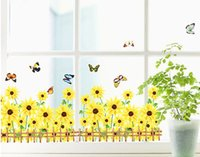 Wholesale yellow chrysanthemum butterfly garden vinyl wall stickers flower home decorations removable DIY wall decals