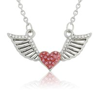 angels flying - Pink Clear Heart Crystal With Flying Angel Wing Pendant Necklaces Enamel Link Chain Silver Plated Women Diy Jewelry