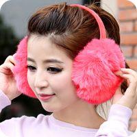 Wholesale winter women girls big plush rabbit fur earmuffs ear warmers protector cover ear muffs winter white fluffy earmuffs
