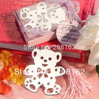 bear wedding greeting - Cute Bear Bookmarks With Mini Greeting Cards Tassel Wedding Supplies Pendant Gifts mix order usd