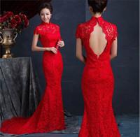 al por mayor vestido de nuevo abierta con cuello alto-2015 Nueva llegada de la sirena de los vestidos de boda de alta cuello abierto Volver medio de manga corta Tren Novia Vestidos de encaje rojo
