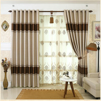 Polyester / Cotton beaded door curtains - On Sale European Simple Design Curtains Window Drape Blackout Tulle Embroidered Beaded For Living Room Hotel