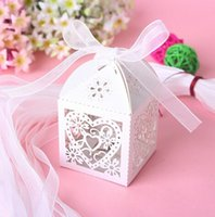 party favor boxes - Love Heart Laser Cut Candy Gift Boxes With Ribbon Wedding Party Favor Creative Favor Bags